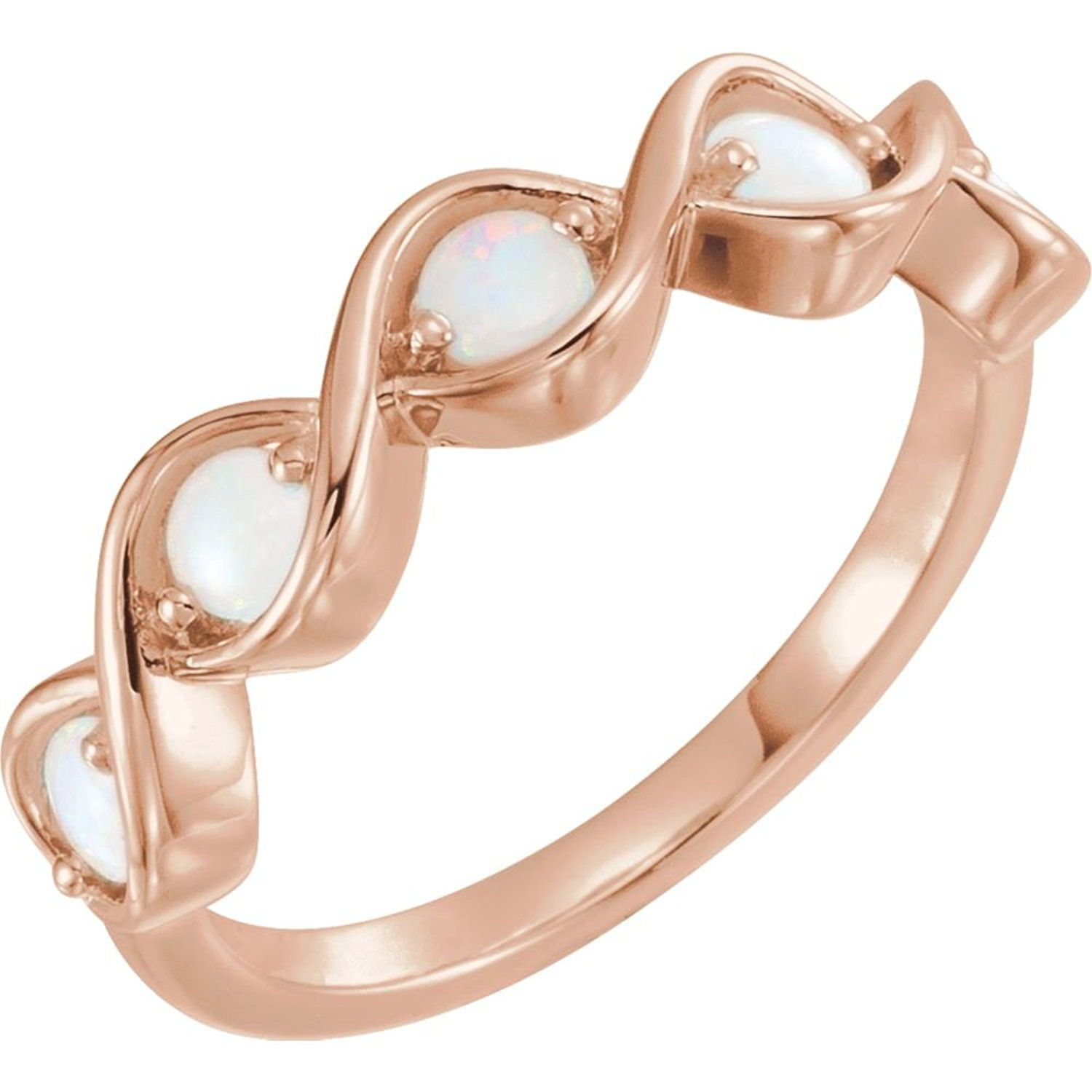 Bonyak Jewelry 14k Rose Gold Opal Stackable Ring - Size 7