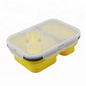 TraveT Portable Collapsible Lunch Box Best Bento Silicone Lunchbox With Two Compartments Great for School