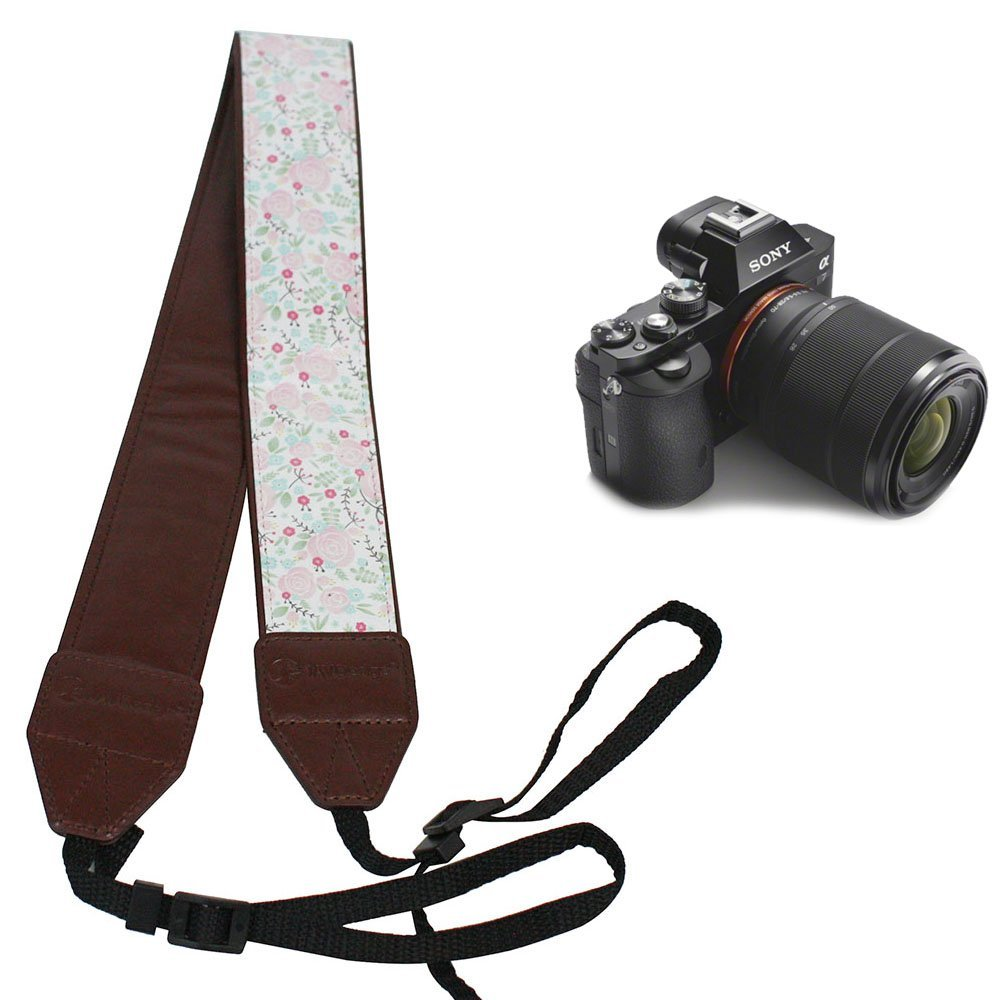 JAVOedge Pink + White Rose Garden Universal Adjustable Camera Shoulder / Neck Strap for Nikon, Canon, Sony, Most Cameras