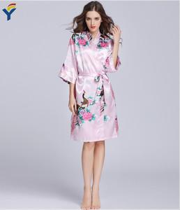 5466318b99 Wholesale custom printed silk pajamas satin wedding bridal robe floral sexy nightdress  kimono robes women sleepwear