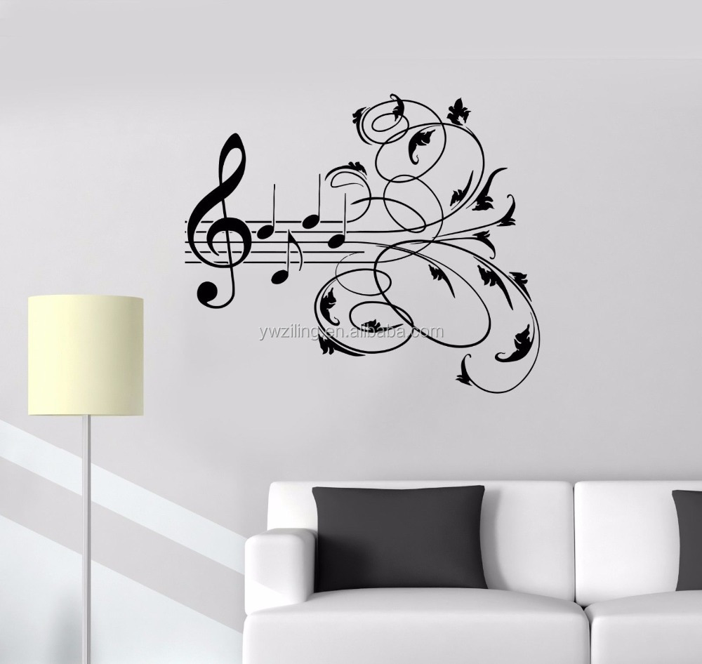 YA510 New Music Vinyl Wall Decals Music Patterns Musical Room Decoration Sticker Mural