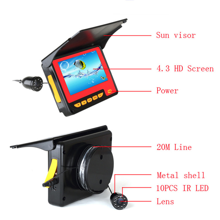 China supply 20m 30m ocean portable underwater ice fishing finder camera for ocean lake sea