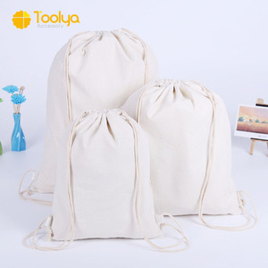 Customized fashion canvas shopping string bag cotton draw string bag