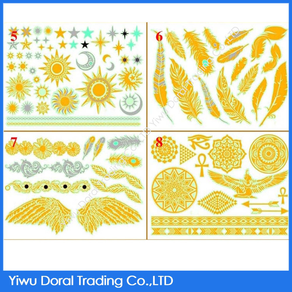Wholesale Indian Custom Culture Luminous Tattoo Sun and Feather Flash Temporary Glitter Tattoo
