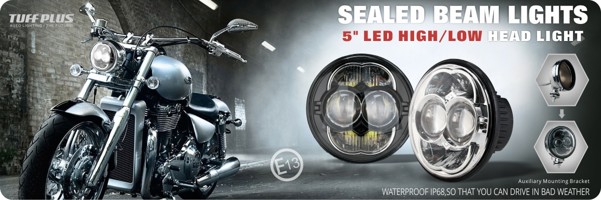 5 inch Emark high low beam 6000k motorcycle black chrome led headlight police motorcycle led car lights