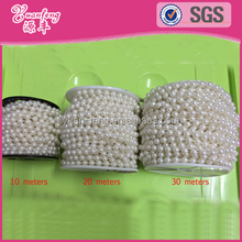 White Beige Decorative Pearl Strands Roll Round Chain strings of faux pearls