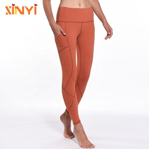 Womens Sportswear Best Quality Side Pocket Compression Tights Yoga Pants Wholesale with Defined Line