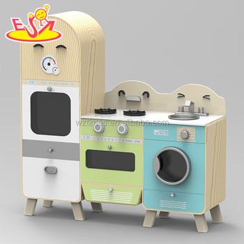 Nouveau Design En Bois Cuisine Jouer Jouets Avec Réfrigérateur Et on