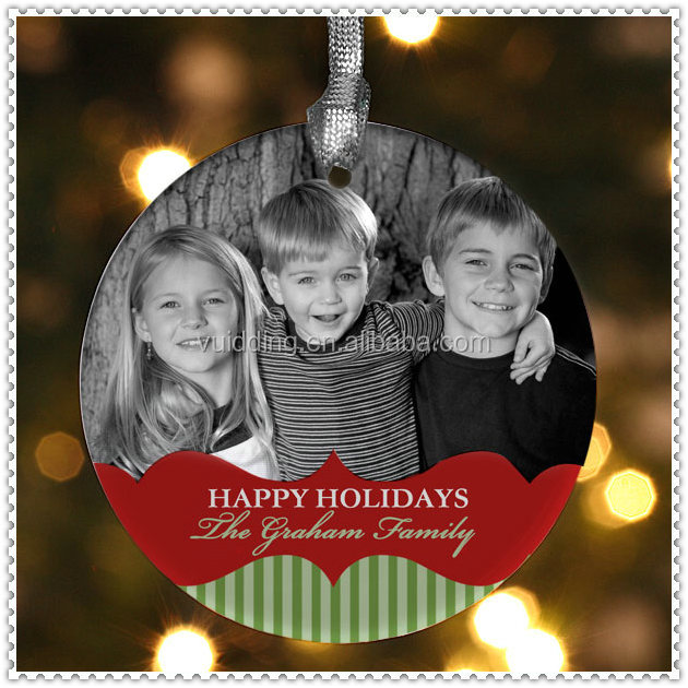 Round Shape With Photo Happy Holiday Christmas Ornament