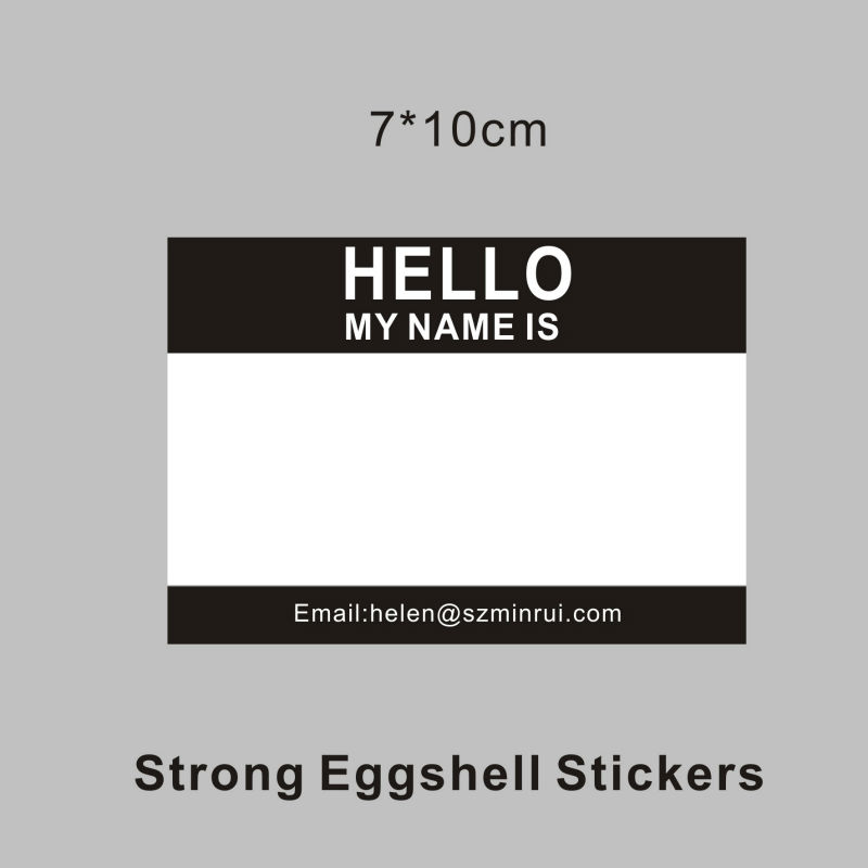 high quality blank eggshell stickers hello my name is writable