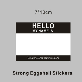 High Quality Blank Eggshell StickersquotHellomy Name Isquot Writable Black