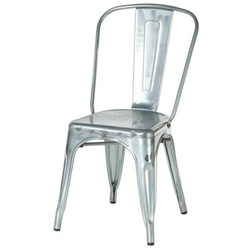 Stacking Outdoor Dining Industrial Retro Iron Galvanized Metal Industry  Side Chair