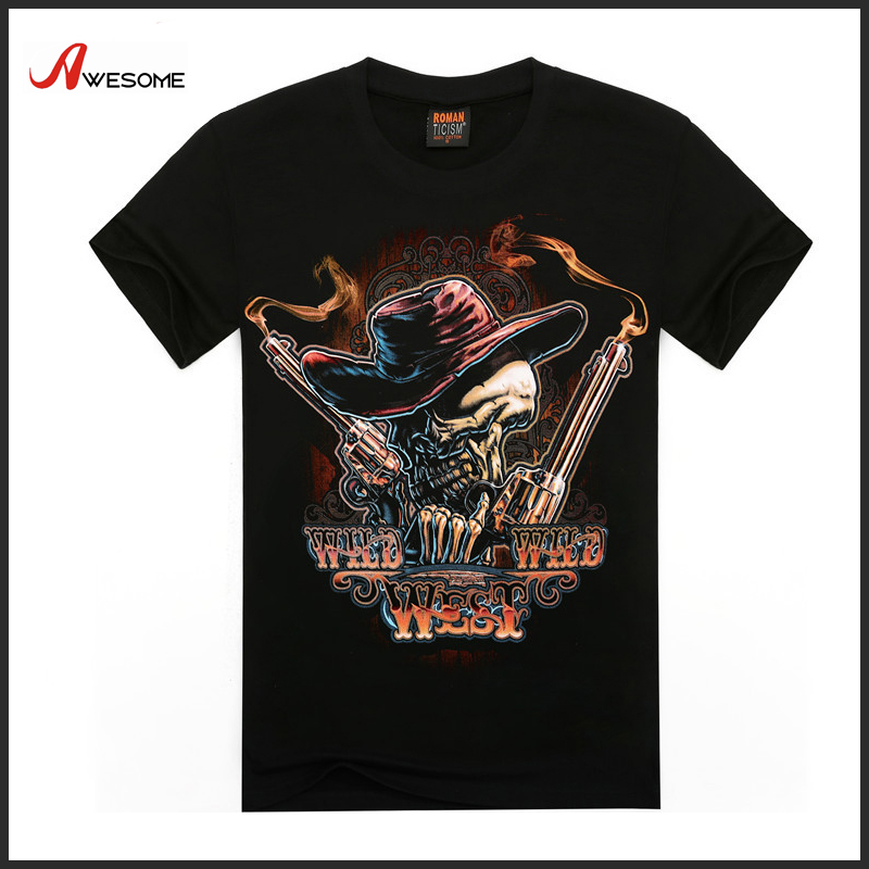 Wild West Skull 3D Print bangladesh t-shirts 100% cotton
