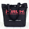 Reusable logo printed black shopping tote bag/promotional cotton bag