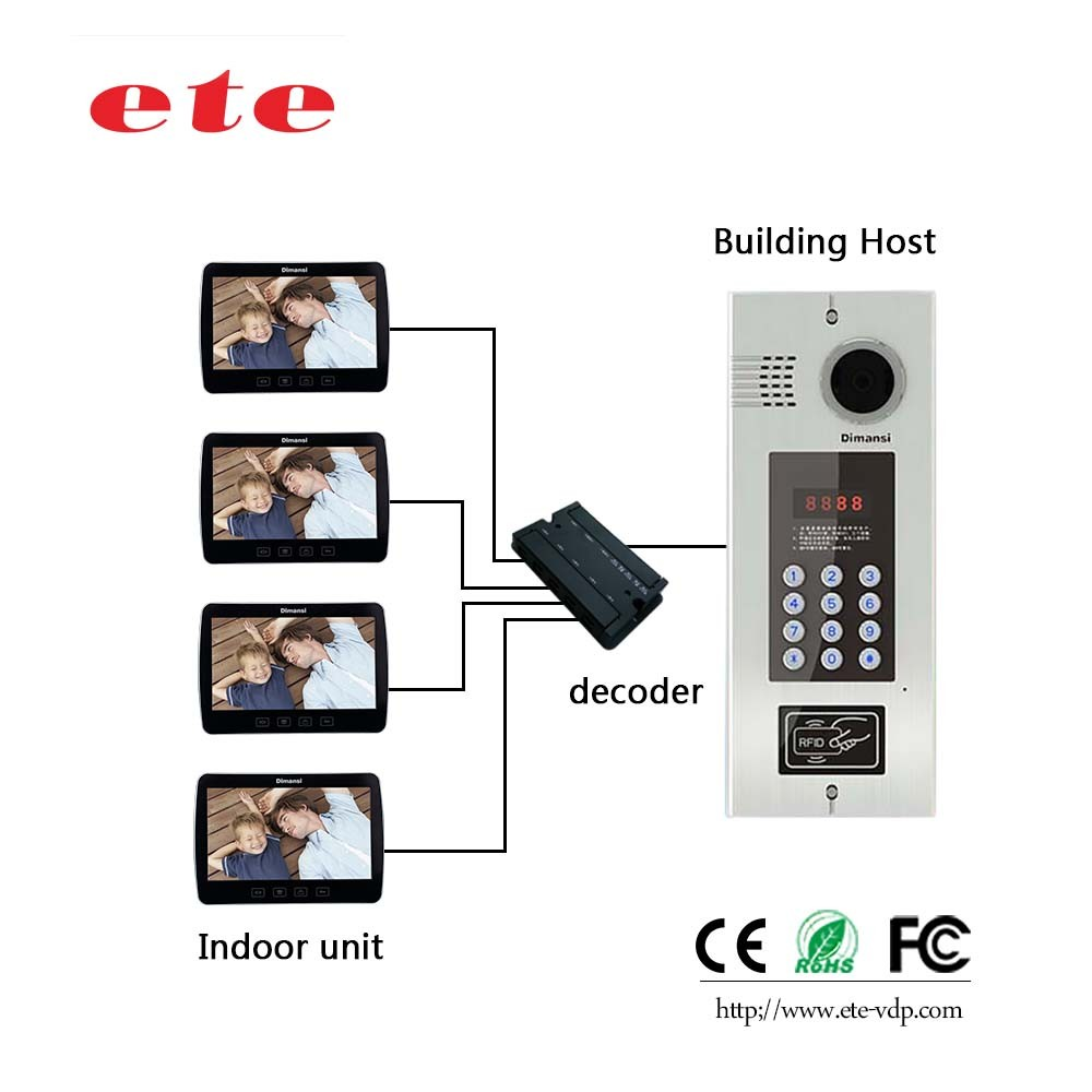 7 inch wired multi appartement economische cat5 kabel systeem video deurtelefoon video intercom