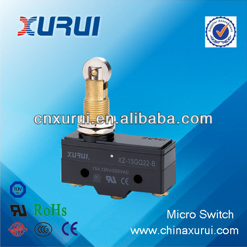 UL&RoHS ABS plastic 15A/250VAC roller plunger type micro tact switch smd model Z-15GQ22-B/oven micro switch