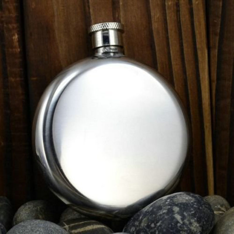 5oz Round Shape Stainless Steel Hip Flask with a Gift Box