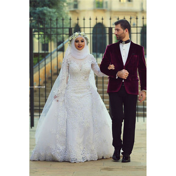 Kualitas Tinggi Muslim Wedding Dress Long Sleeve Lace Mermaid