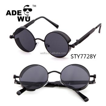 09bb29bc6cf3 ADE WU 2017 Retro Round Metal Steampunk Men Women fashionable sunglasses  Brand Designer