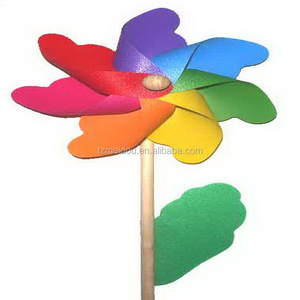 Factory sell 18cm plastic flower pinwheel with wood stick vertical windmill decoration
