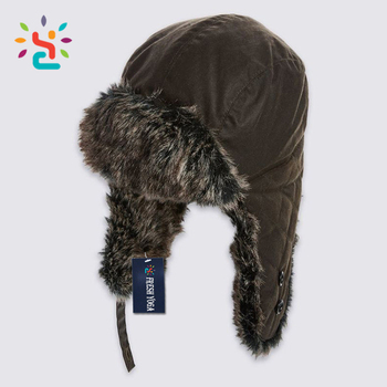 Custom ushanka Russian rabbit fur hat pattern knitted with mens winter cap  wholesale c92f3c08606