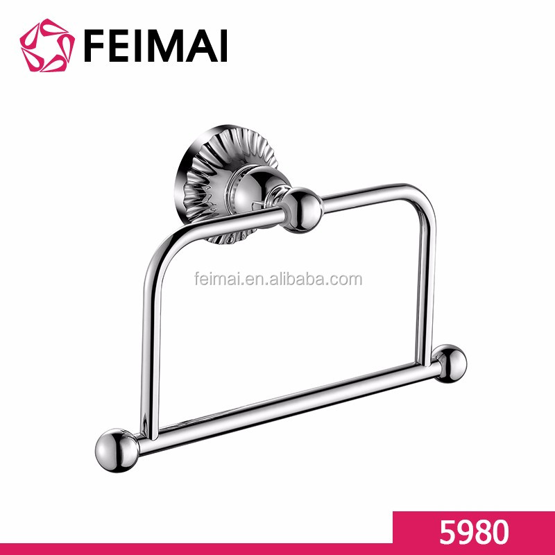Elegant Design Rectangle Towel Ring for Home Bathroom Wall Mount Chrome