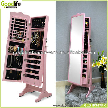 New Arrival Pink Color Dressing Mirror With Jewelry Cabinet