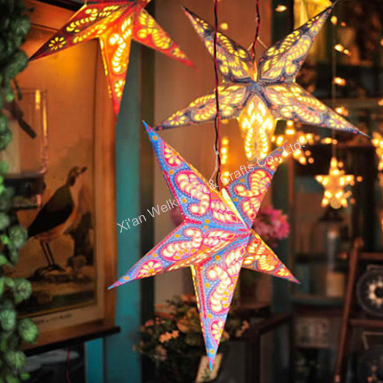 Hanging paper christmas star with light buy paper for Paper star lamp
