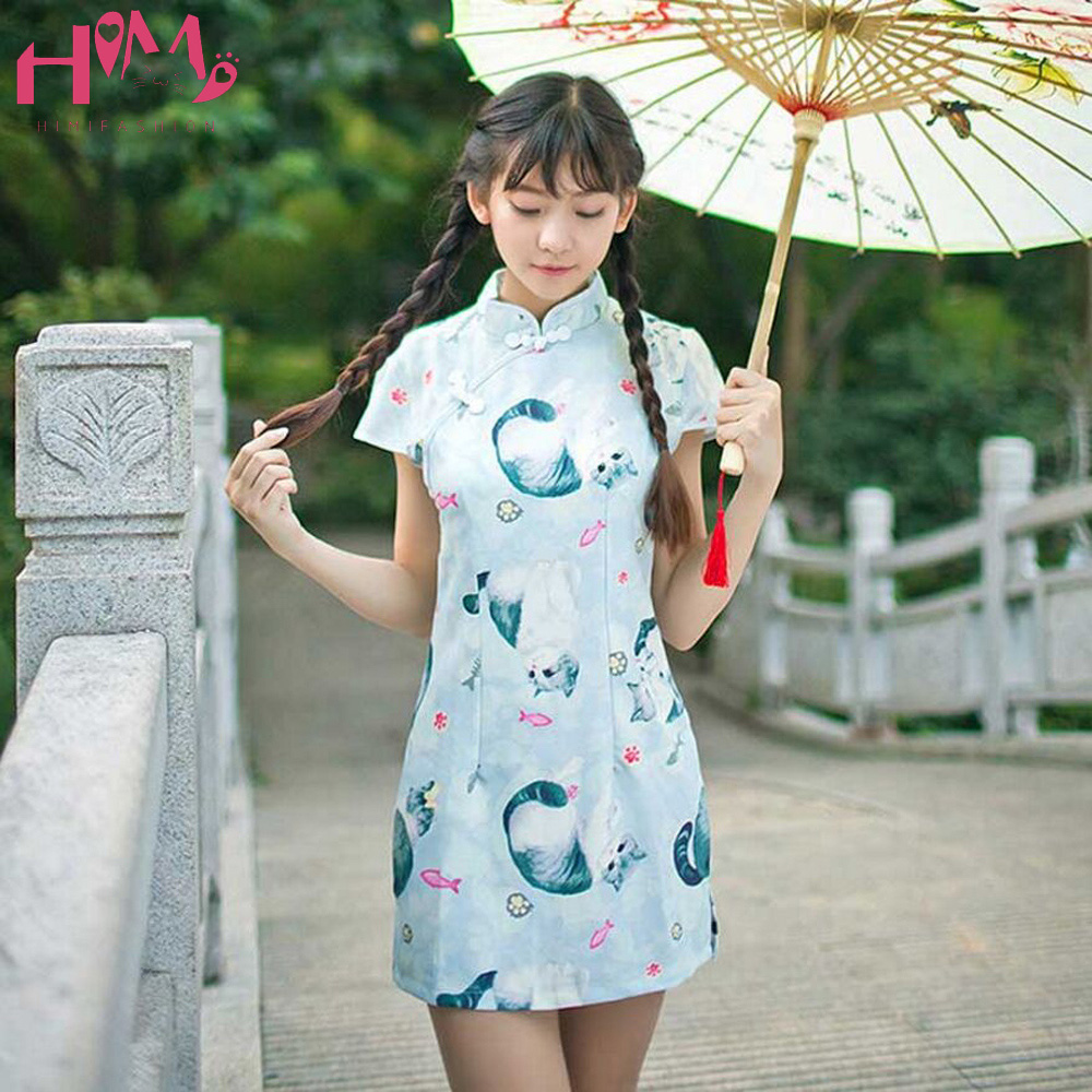 Cat Print Traditional Chinese Women Qipao Dress High Neck Summer Slim Ladies Cheongsam Vintage Bodycon Female Party Split Dresse