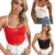 Wholesale cheap hot selling new design cotton colorful embroidery logo fashion  sexy  crop  women tank top
