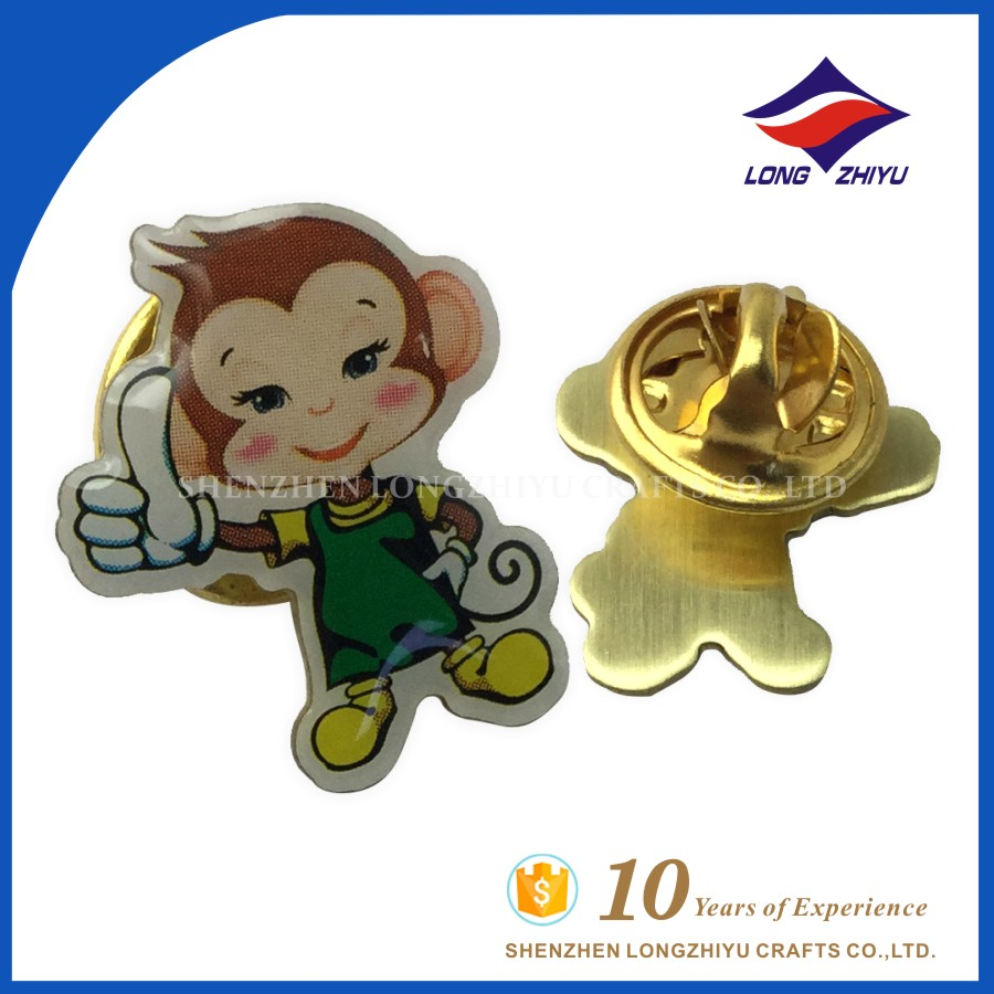 2016 Newest Lovely Metal Printing Monkey Badge Lapel Pin For Kids