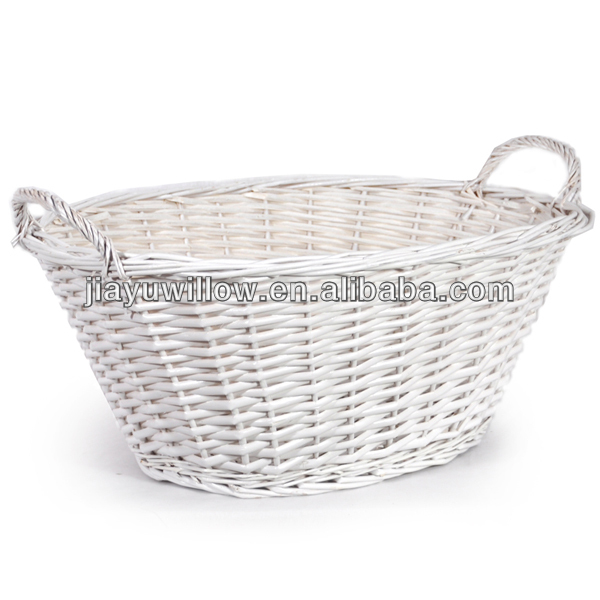 White Oval Natural Wicker Laundry Basket Baskets Product On