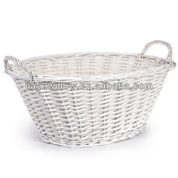white oval natural wicker laundry basket white wicker baskets - Wicker Laundry Basket