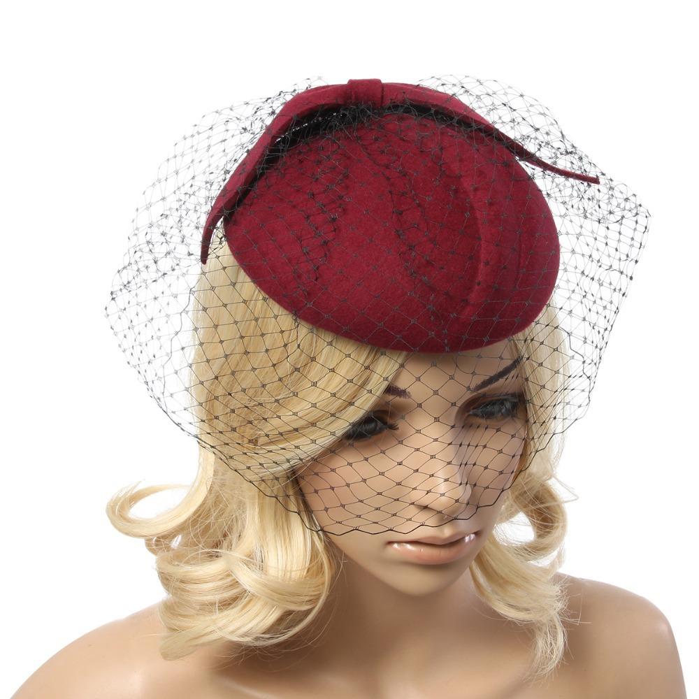3d99f41b72c Buy Retail Vintage Lady Women black Wool Felt Pillbox Fascinator Party  Wedding Hat with Bow Veil wine camel black in Cheap Price on m.alibaba.com