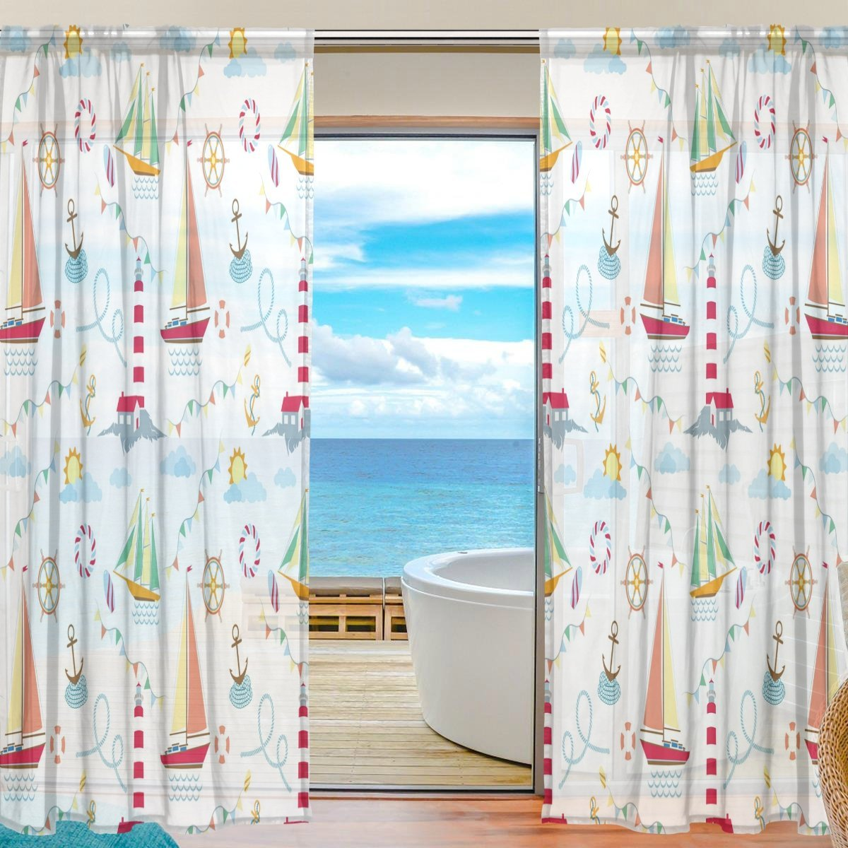 """WOZO Custom Ship Lighthouse Anchor Sheer Panel Pair Curtains 55""""x78"""", Rope White Cloud Modern Modern Window Treatment Panel Collection for Living Room Bedroom Home Decor"""