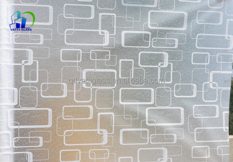 10mm Thick Decorative Glass Partitions Etching Frosted