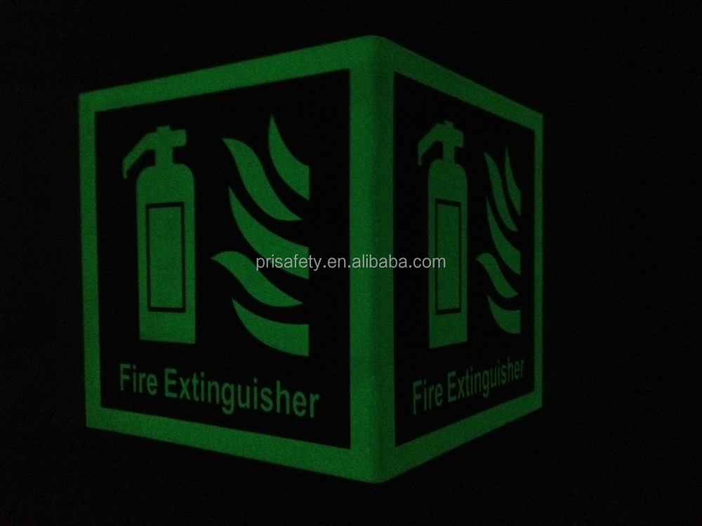 Luminous fire fighting equipment safety signs
