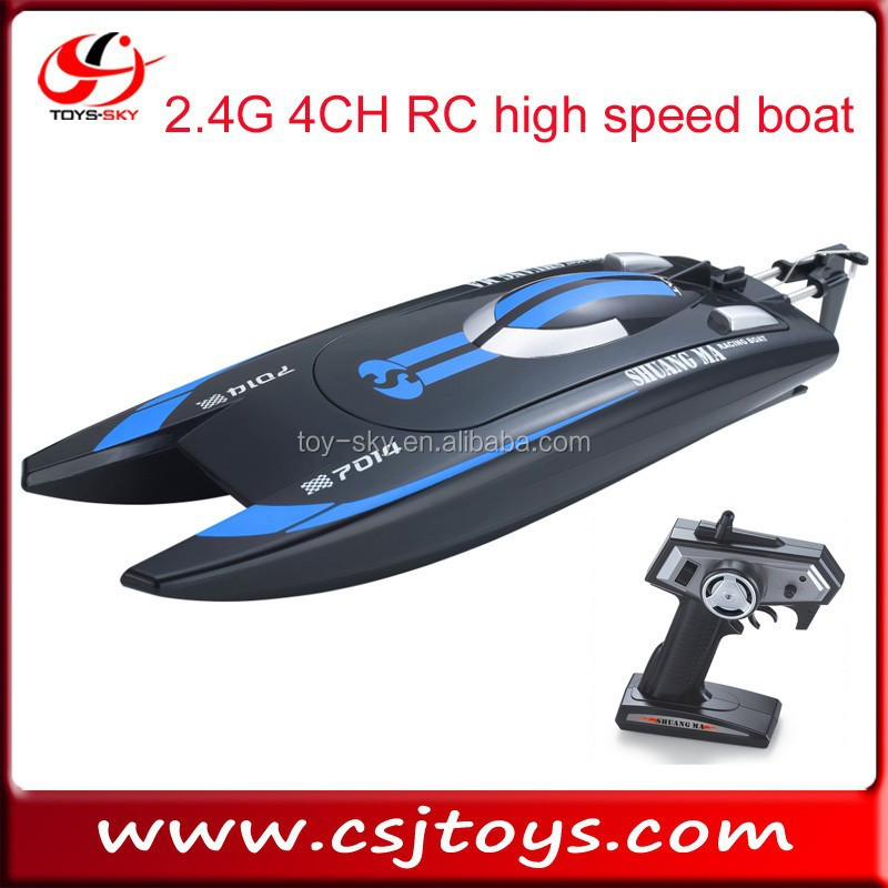 kid toy 2.4G 4CH RC high speed boat double horse 7014 fishing boat for sale