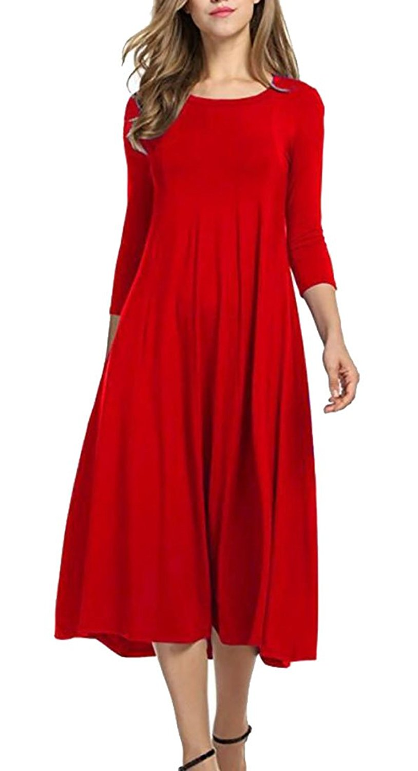 Get Quotations · GAGA Women Elegant 3 4 Sleeve Solid Color Pleated Swing Maxi  Long Dresses 213c3c530