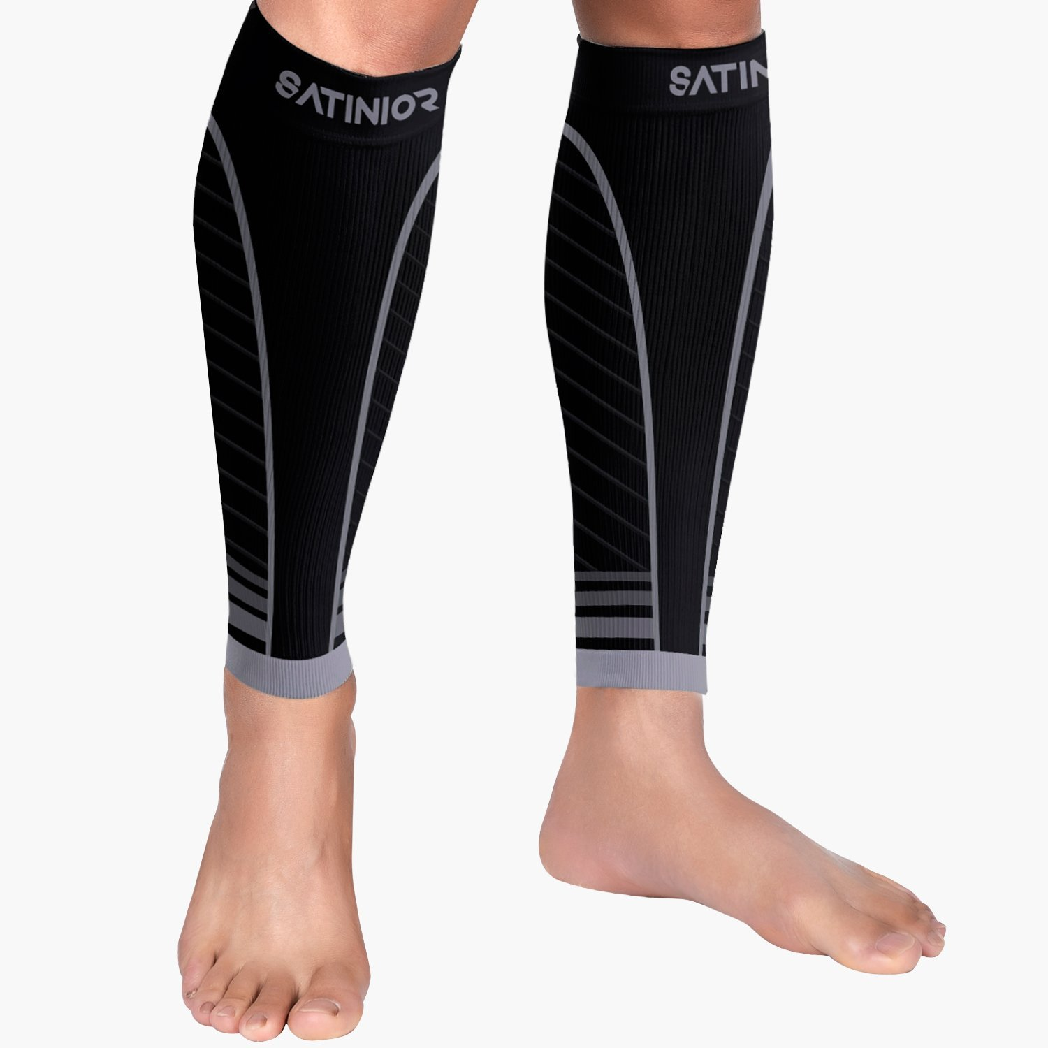 30f1a2f557 Get Quotations · Satinior 1 Pair Calf Compression Sleeves Men Women Leg  Support Socks, Runners Shin Guard Sleeves
