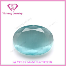 AAA oval shaped double faceted blue/black cat's eye stone from wuzhou
