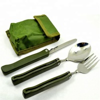 Portable Folding Camping Tool Stainless steel outdoor tableware Folding Fork Spoon Knife Picnic Dinnerware Set