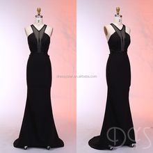 Dressystar floor length beaded girls sexy see through black bandage prom dress
