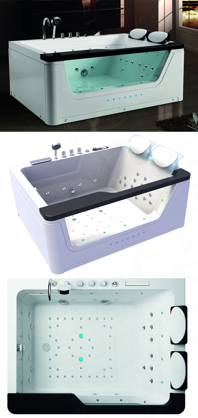portable whirlpool for bathtub/ cheap double acrylic fibreglass bathtub/ acrylic whirlpool tub