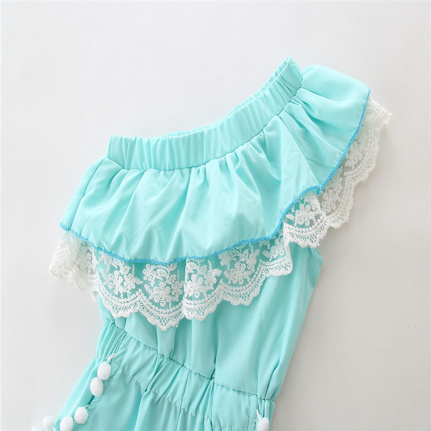 Baby Kids Blue Ruffle Romper Jumpsuit Little Girl Overalls Fashion