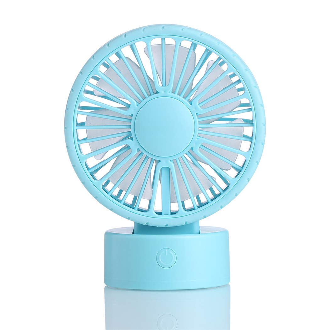 Justdolife Handheld Fan Portable USB Powered 45° Rotation Summer Desk Fan Mini Fan with LED Light