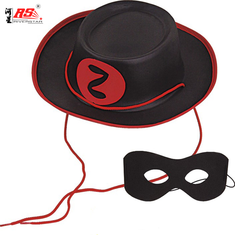 Captain Robber Costume EVA Hat Wholesale Soft Rubber Foam Christmas Party Custom Head Accessories Thief Hat and Eye Mask