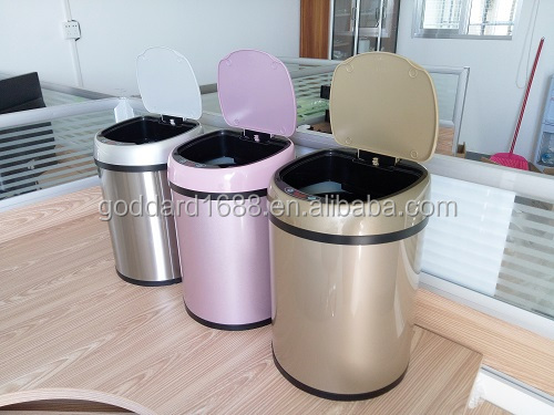 Latest design all plastic 8L quality products stainless steel touchless odorless auto sensor trash can 12l