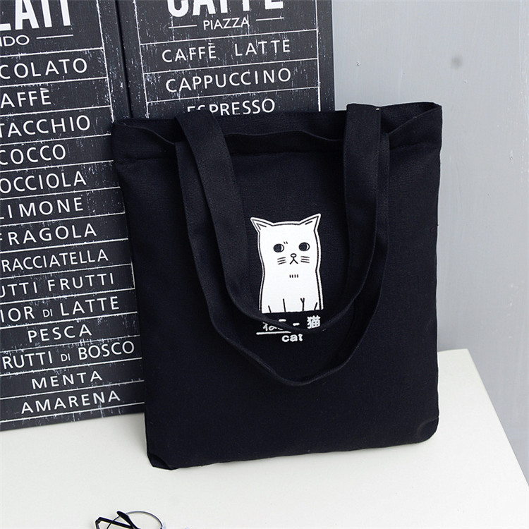 Black Cotton canvas shopping tote bag with logo printing