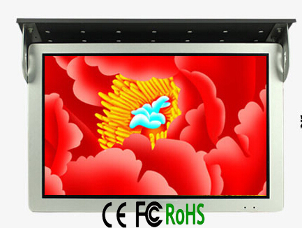 "24"" inch TFT flip down bus LED LCD display monitor with VGA support HDMI DVI AV input ports"